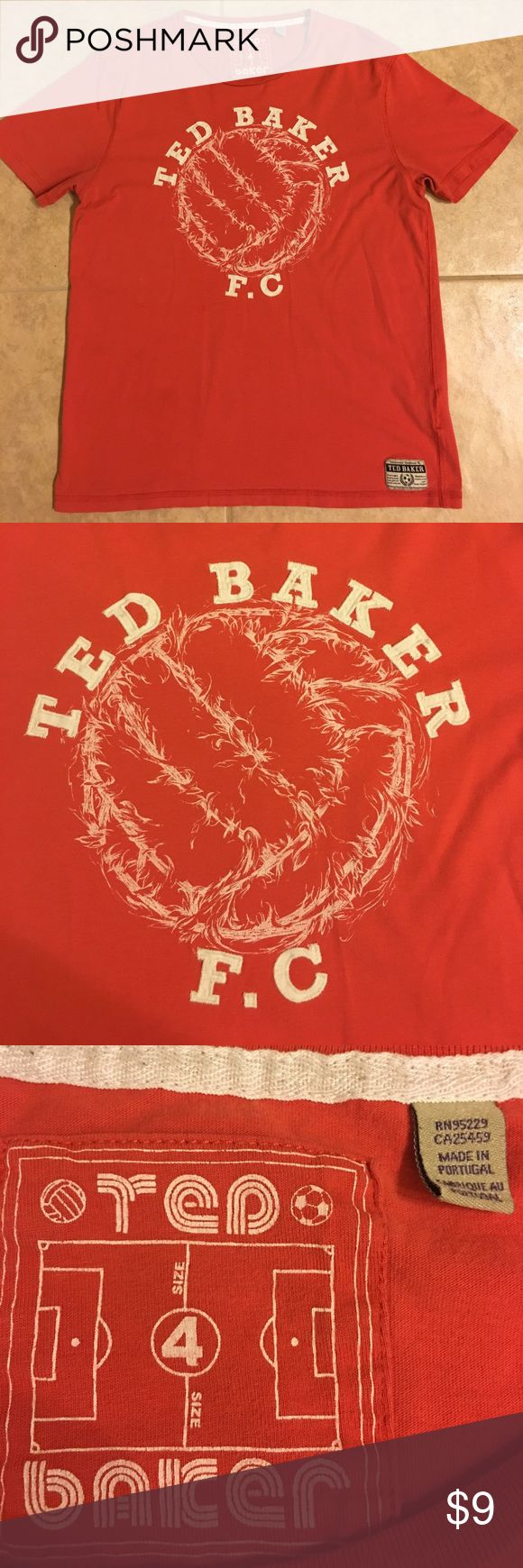 ☀️Men's Ted Baker Graphic Tee Shirt Size 4 Large Men's Ted Baker Graphic Tee Shirt.  Size 4- Large.  Reddish-Coral color.  Good Condition.  Smoke-free home, bundle and save! Ted Baker Shirts Tees - Short Sleeve