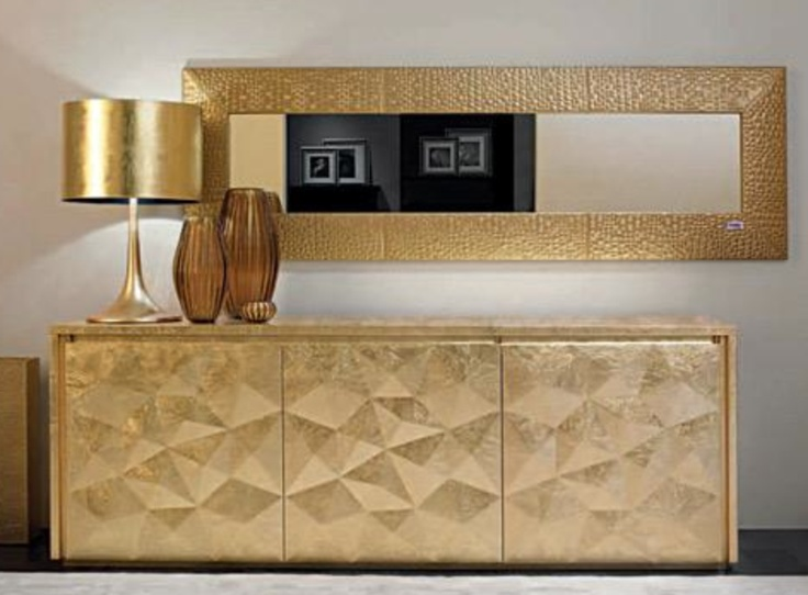 This Fendi Credenza With Gold Lamp And Mirror Is