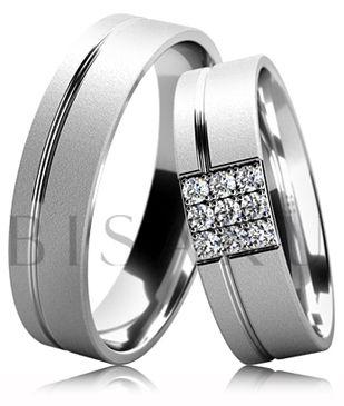 B40 Snubní prsteny z bílého zlata v diamantově matném provedení s lesklou drážkou ve dvou třetinách prstene. Dámský prsten zdobený kameny. #bisaku #wedding #rings #engagement #svatba #snubni #prsteny
