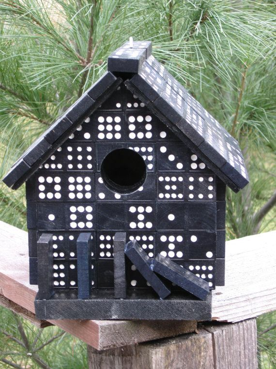 Handmade Domino Bird House make for brenda in memory of the yrs of playing w my parents, her grandparents