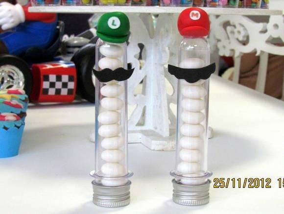 Lembrancinha Tubete  Mario Bros e Luigi