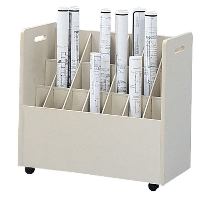 "21 Slot Safco Mobile Roll File with 3 3/8"" Bins"