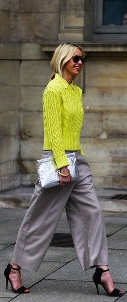 Neon yellow cable knit