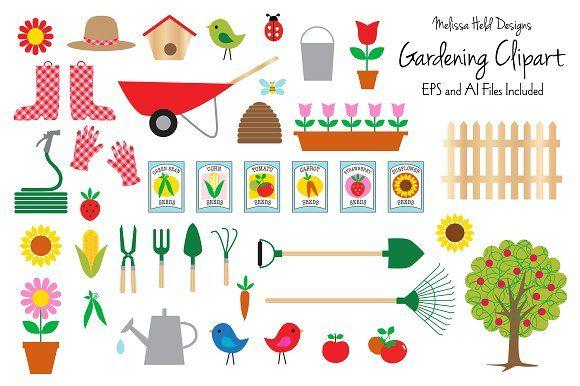 Gardening Clipart by Melissa Held Designs on @creativemarket