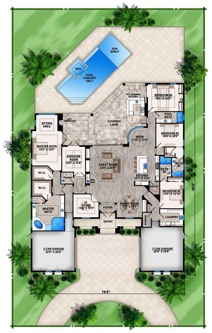 Mediterranean Floor Plan 4 Bedrms 4 5 Baths 4155 Sq Ft 133 1087 Mediterranean Style House Plans Florida House Plans House Layout Plans