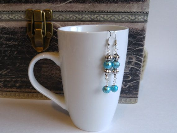 Antique silver and turquoise dangling earrings gift for her