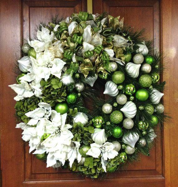 """JUST LISTED! XL 32"""" Christmas Wreath Ivory Sage and Lime Green Silk Poinsettia, Hydrangea & Shatterproof Ornament INDOOR/OUTDOOR Wreath by SandyNewhartDesigns, $325.00"""