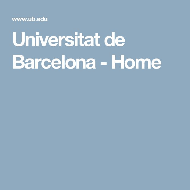 Universitat de Barcelona - Home