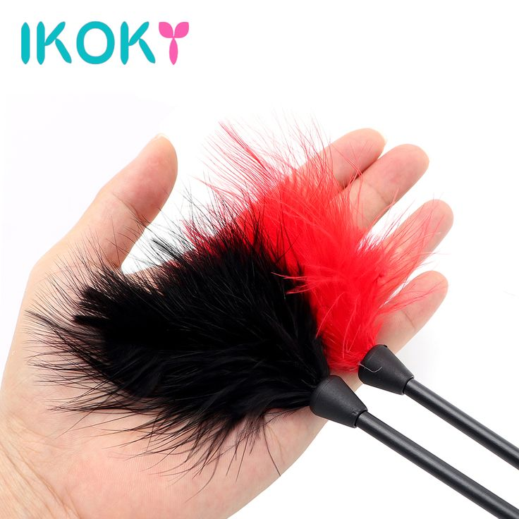 IKOKY 24cm Flirting Feather Black Spanking Whip SM Bondage Erotic Toys Sex Toys for Couple Clitoris Stimulator Adult Games