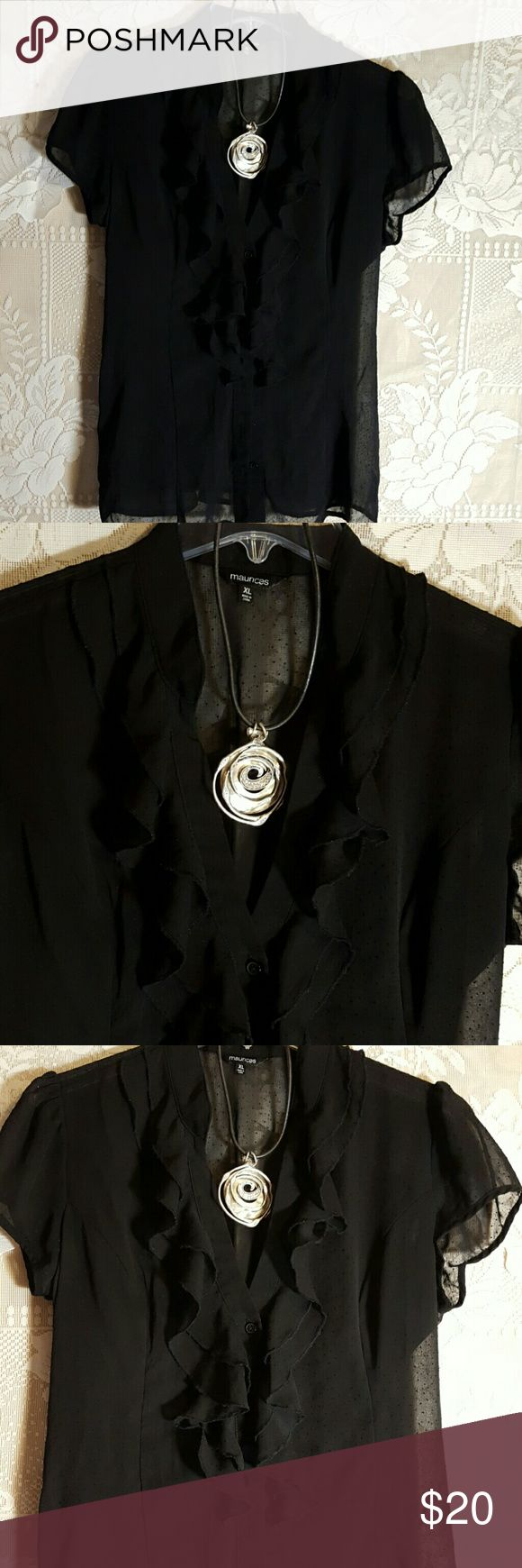 2 piece Bundle XL black Poet Blouse & necklace Beautiful black polkadot sheer blouse and silver choker Maurices Tops Blouses
