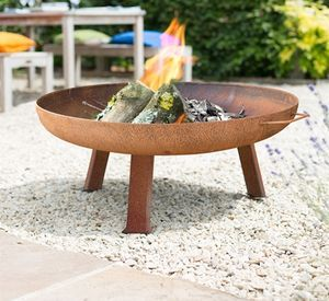 Large Industrial Style Steel Firepit - summer garden