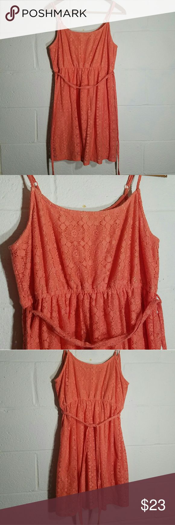 Cutesy coral sundress Like what you see but not the price tag? Feel free to make an offer =) bundle and save! Don't be shy- happy to answer any questions.   Used in very good condition.   It is a large but since the straps are adjustable and the tie under the bust, I would consider it suitable for a small and medium also. Forever 21 Dresses