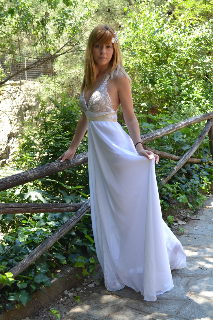 White Chiffon Maxi Sexy / Grecian Gown / Wedding Dress - Handmade Gown  / Free Shipping. $490.00, via Etsy.