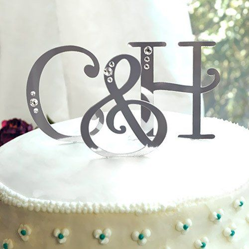 Swarovski Accent Letter Cake Toppers by Beau-coup