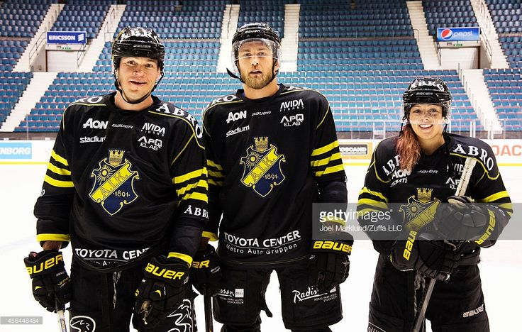 Forrest Griffin, Alexander Gustafsson and Joanne Calderwood at the AIK Pro Ice Hockey Team Training Session on October 1, 2014 in Stockholm, Sweden.
