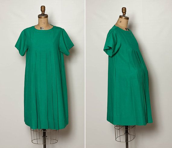 vintage 60s teal green maternity dress by StopTheClock on Etsy