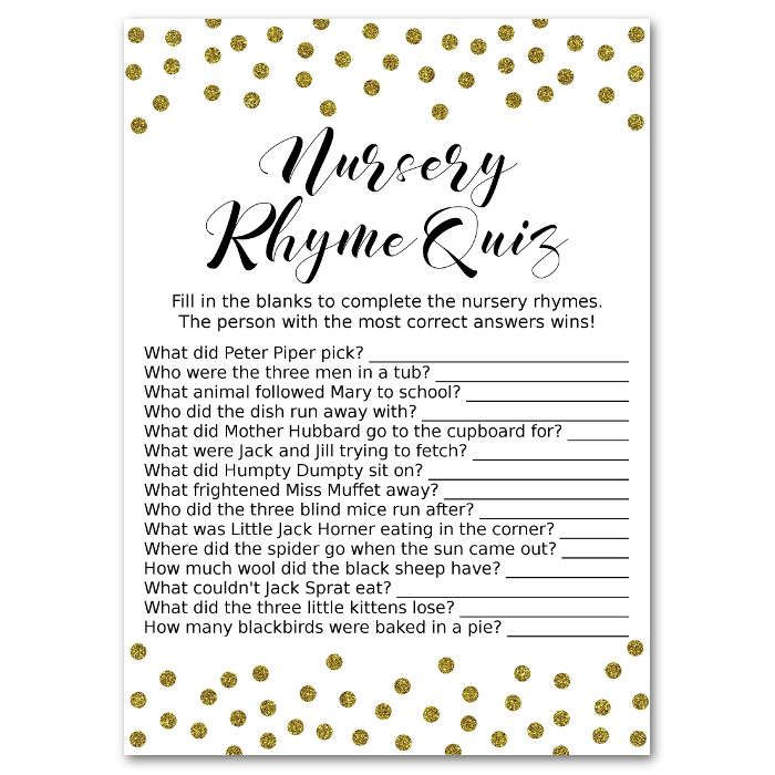 Gold Nursery Rhyme Quiz Baby Shower Game Baby Shower Pinterest