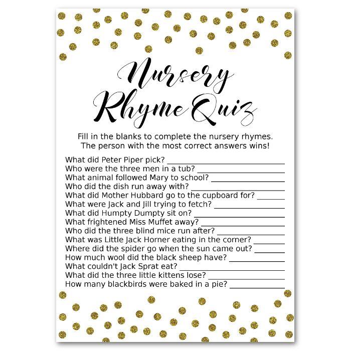 Gold Nursery Rhyme Quiz Baby Shower Game Printable File