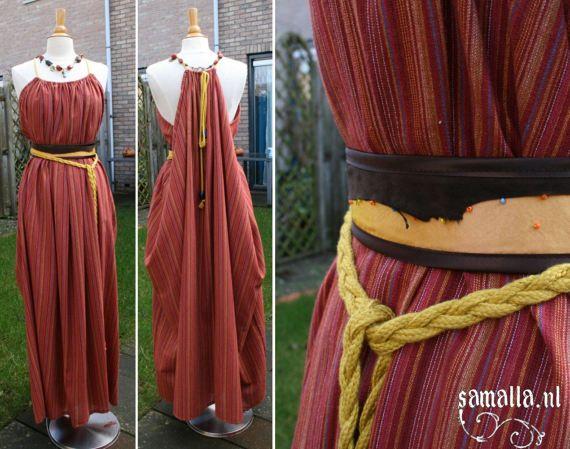 Shae Handmaiden Dress in orange woven striped by SamallaNL on Etsy
