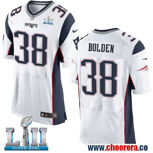 sports shoes 8f260 460af Nike Patriots 38 Brandon Bolden White 2018 Super Bowl LII ...