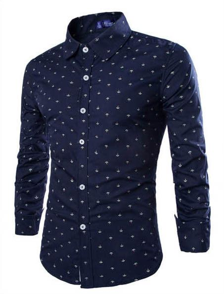 Boat Anchor Printing Mens Patchwork Color Slim Fit Dress Shirts