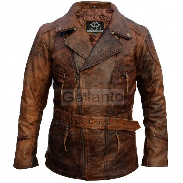 3/4 Eddie Vintage Brown Unisex Biker Leather Jacket