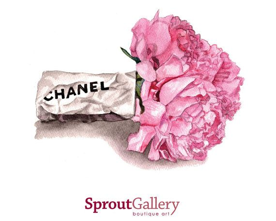 Large Chanel Paper Wrap And Pink Peonies Print Of Original