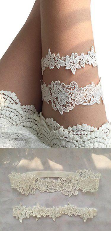 5a2ed04469a YuRong Flower Leaf Styel Garter Set Wedding Garter Set Bridal Garter G08  (Ivory)