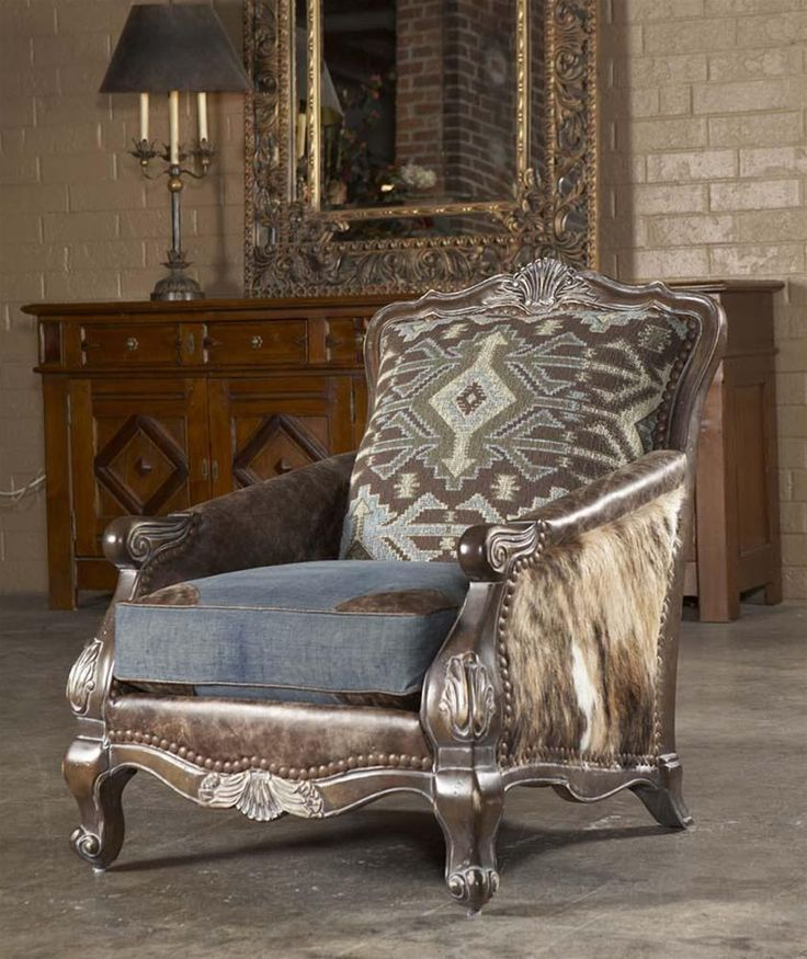 Reupholstered Chair With Leather, Fabric.