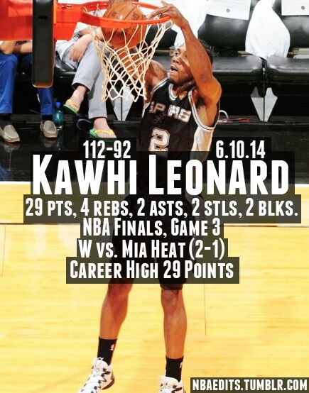 Spurs Kawhi Leonard GAME 3 NBA STATS VS HEAT