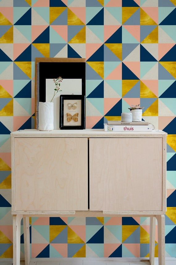 Removable Wallpaper Peel And Stick Wallpaper Wall Paper Wall Etsy Geometric Triangle Wallpaper Wall Wallpaper Removable Wallpaper