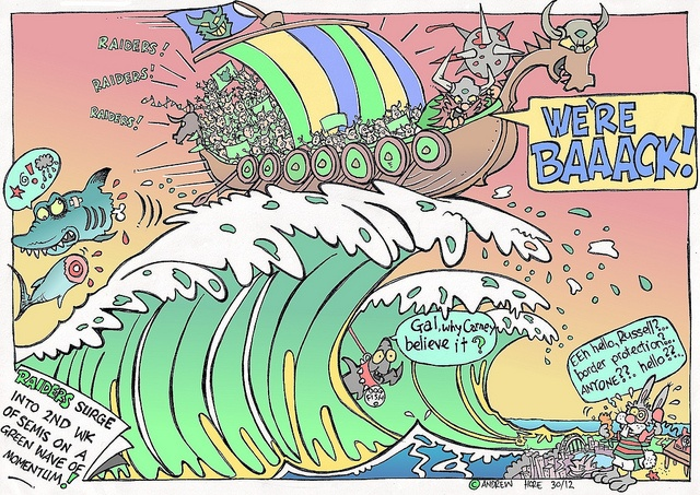 Victor the Viking - Raiders riding a wave into finals over Sharks