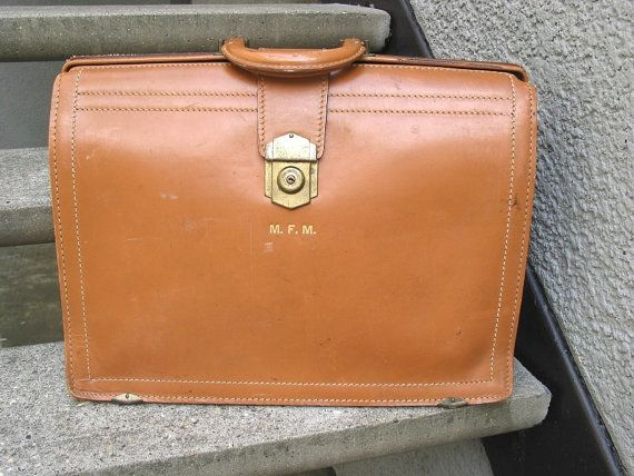Vintage Large Tan Lawyers Briefcase by VintageClassicWares on Etsy