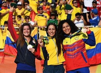 Medal - Post, Alise, Pajon, Mariana, Hernandez, Stefany - Cycling BMX - United States, Colombia, Venezuela - Women - Women's Final - Olympic BMX Centre