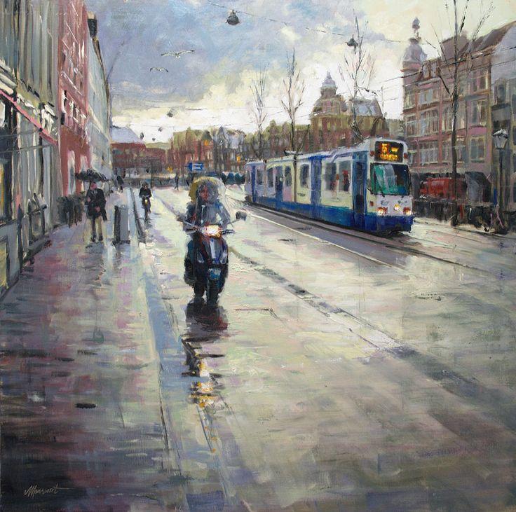 Singel Amsterdam | oil on panel painting by Richard van Mensvoort