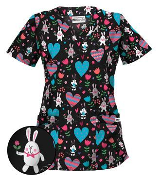 UA Honey Bunny Black Scrub Top Style # H194HBB  #uniformadvantage #uascrubs #adayinscrubs #scrubs #printscrubs #easterscrubs #happyeaster