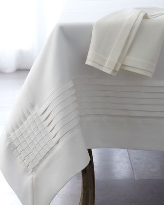Multi-Pleated Table Linens by Fino Lino Linen & Lace at Neiman Marcus.