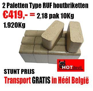 """Rufmixbriketten: Berk-Beuk-Den OPGELET VOOR NAMAAK!! LET ALTIJD OP DE STEMPEL RUF   ECHTE RUF briketten hebben steeds een duidelijke RUF-stempel in de briketten en zijn op de hoogwaardige Duitse RUF-persmachines gemaakt. Ze hebben een veel hogere densiteit, branden langer en vallen veel minder snel uit elkaar dan de namaak.  Vergeleken met haardhout hebben ze een veel grotere verwarmingscapaciteit (18MJ/ kg ) vanwege het lagere vocht gehalte """"(3-5%) en hoge densiteit."""