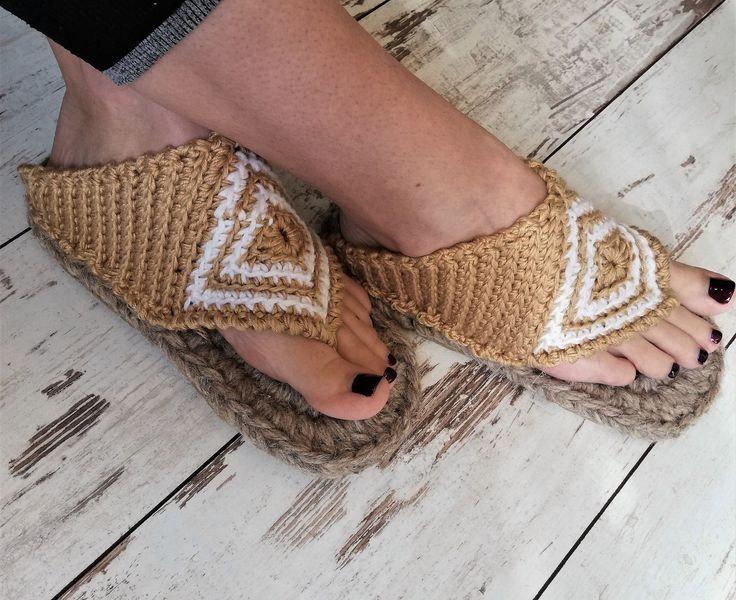 Crochet summer outdoor flip flops with rubber soles /Summer house slippers /rubber soles / women summer slippers / sauna slippers / loafers