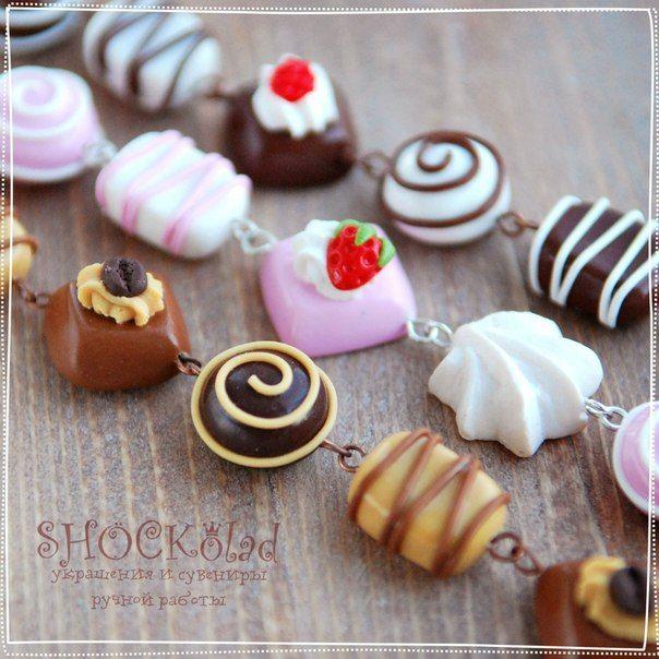 Chocolate candy bracelet polymer clay