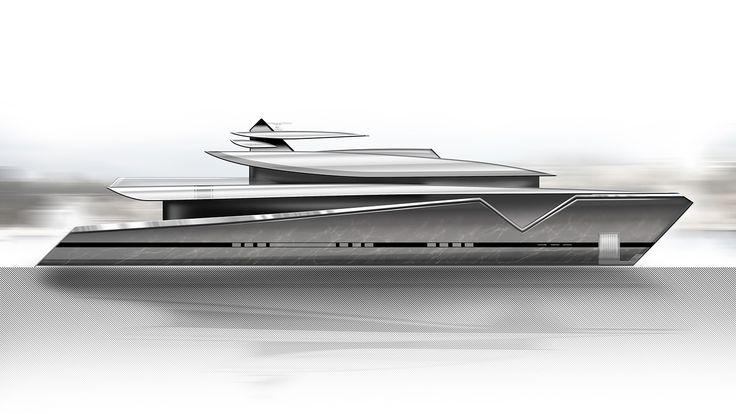 ThirtyC - Mako 50M #superyacht #yacht #design #yachtdesign #luxury #illustration #profile www.thirtyc.com