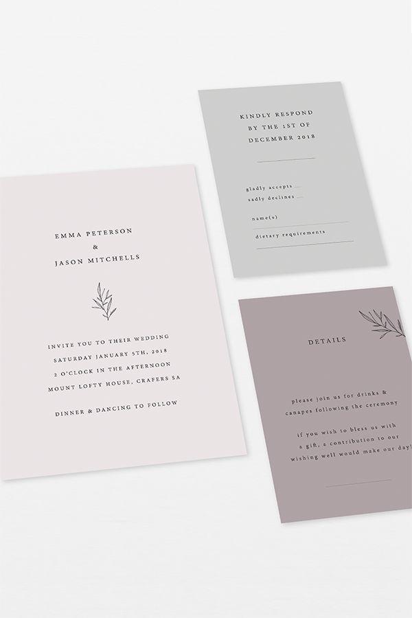 Printable Wedding Invitation Modern Wedding Chic Wedding Musk Wedding Suite Traditional Wedding Classic Wedding Classic Invitation Grey Wedding Invitations Minimal Wedding Classic Invitation