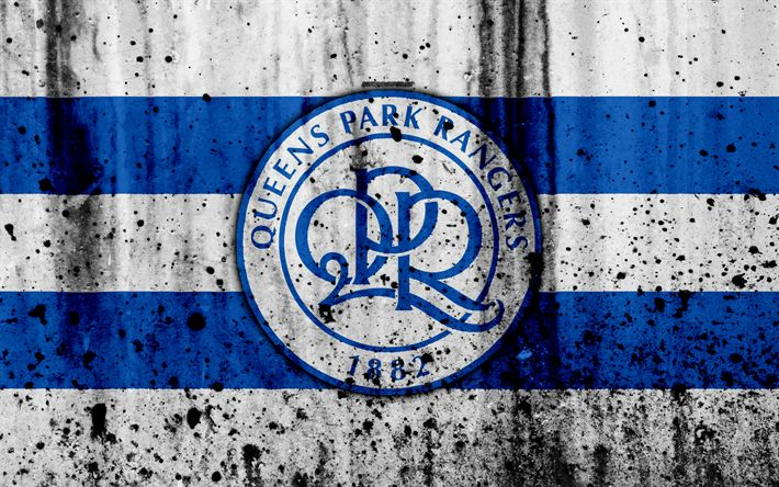 Download wallpapers 4k, FC Queens Park Rangers, grunge, EFL Championship, art, soccer, football club, England, Queens Park Rangers, logo, stone texture, Queens Park Rangers FC