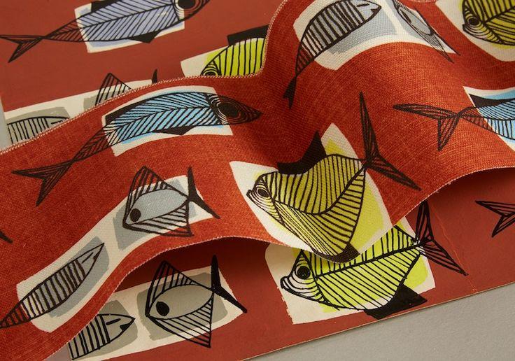 kissing fish fabric, midcentury fabric, midcentury pattern, michael nicholson, terence conran