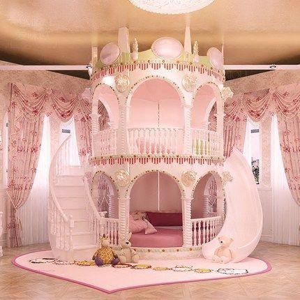 acheter Chambre Princesse Fille Enfants de Diapositives Lit, belle Unique Rose Château Lit Filles Meubles
