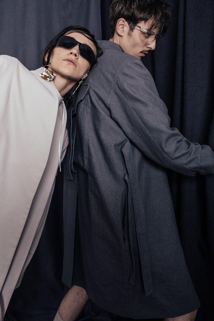 Constantine/Renakossy | rhéō 17 |women and menswear - campaign - LONG DENIM COAT / TRENCH-KIMONO HYBRID