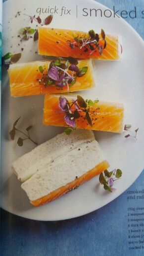 Smoked salmon, wasabi and radish ginger sandwiches