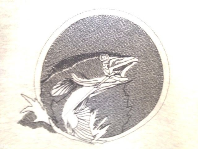Fishing  Sweatshirt Fisherman Embroidery Hanes  Adult XL Fish Jumping Gray #Hanes #Sweatshirt