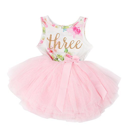 cc7e68e23 Grace & Lucille Toddler Birthday Dress (3rd Birthday) (Pink Floral  Sleeveless,