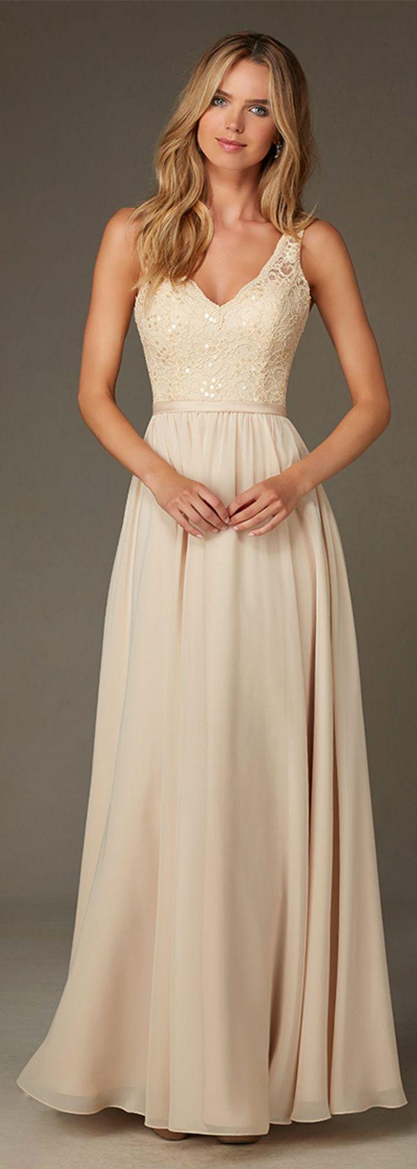 Elegant Chiffon V-neck Natural Waistline Floor-length A-line Bridesmaid Dresses